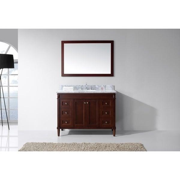 65 Inch Bathroom Vanity Single Sink: Shop Tiffany 48-inch White Marble Single Bathroom Vanity