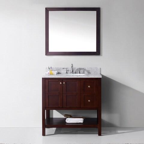 Winterfell 36-in White Marble Single Bathroom Vanity Set