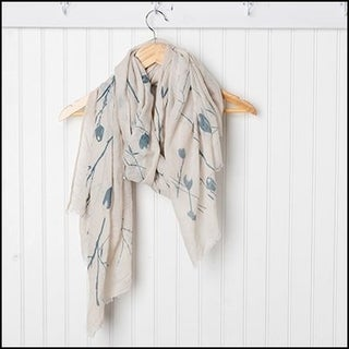 """Tickled Pink Branches and Flowers Sheer Scarf 30 x 70"""" - Teal on Beige"""