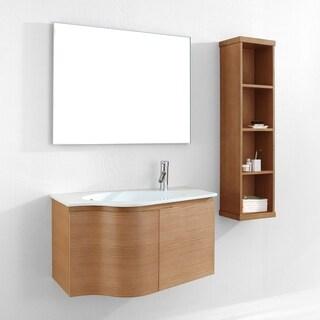 Virtu USA Roselle Oak Wood 36-inch Ceramic Single Bathroom Vanity Set