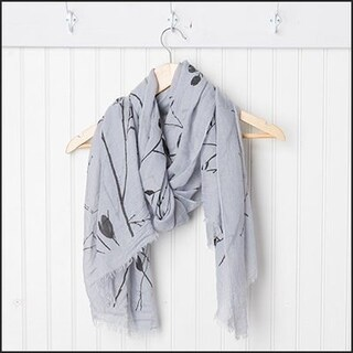 "Tickled Pink Branches and Flowers Sheer Scarf 30 x 70"" - Black on Gray"