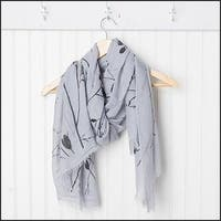 """Tickled Pink Branches and Flowers Sheer Scarf 30 x 70"""" - Black on Gray"""