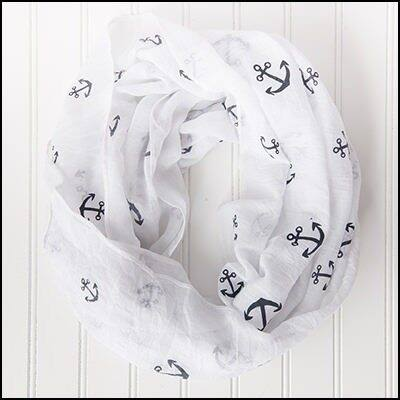 """Tickled Pink Anchors Away Lightweight Infinity 30 x 35"""" - White"""