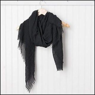 """Tickled Pink Classic Soft Solic Lightweight Scarf 38 x 70"""" - Black"""