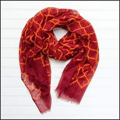 """Tickled Pink Vibrant Lightweight Scarf 40 x 70"""" - Maroon and Orange"""