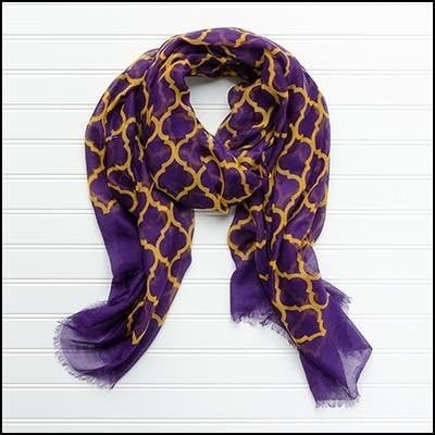 """Tickled Pink Vibrant Lightweight Scarf 40 x 70"""" - Purple and Gold"""