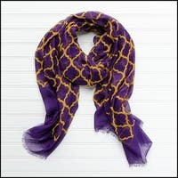 "Tickled Pink Vibrant Lightweight Scarf 40 x 70"" - Purple and Gold"