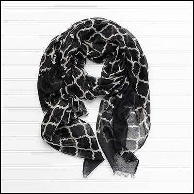 """Tickled Pink Vibrant Lightweight Scarf 40 x 70"""" - Black and White"""