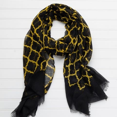 """Tickled Pink Vibrant Lightweight Scarf 40 x 70"""" - Black Athletic Gold"""