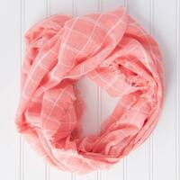 "Tickled Pink Infinity Scarf Lightweight Beach Plaid - 16 x 63"" Peach"
