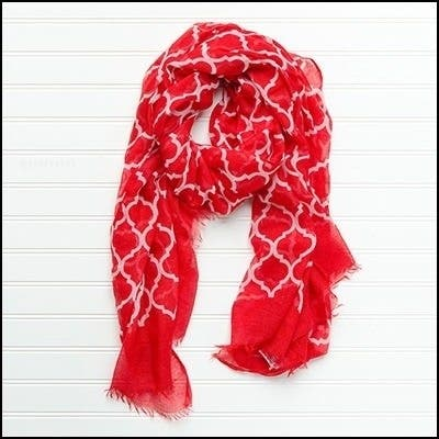 """Tickled Pink Vibrant Lightweight Scarf 40 x 70"""" - Red"""