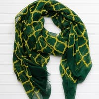"Tickled Pink Vibrant Lightweight Scarf 40 x 70"" - Green and Gold"