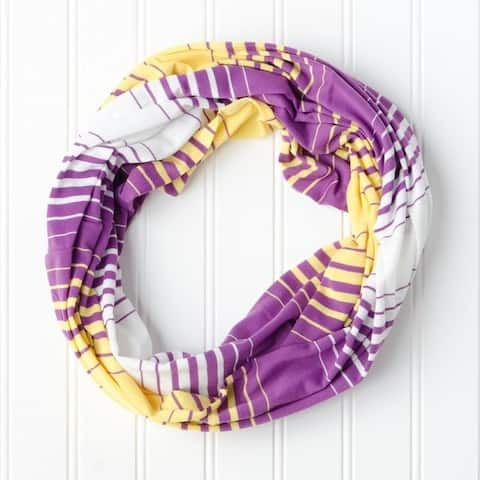 """Tickled Pink Striped T-shirt Infintiy Scarf - 15 x 62"""", Purple / Gold"""