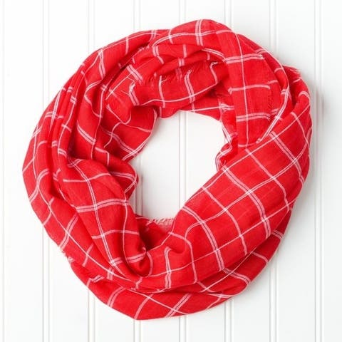 """Tickled Pink Infinity Scarf Lightweight Plaid - 16 x 63"""" Loop, Red"""