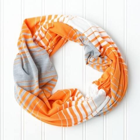 "Tickled Pink Striped T-shirt Infintiy Scarf - 15 x 62"", Orange"