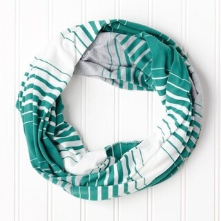 """Tickled Pink Striped T-shirt Infintiy Scarf - 15 x 62"""", Green"""