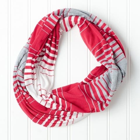 "Tickled Pink Striped T-shirt Infintiy Scarf - 15 x 62"", Crimson"