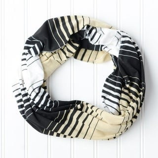 """Tickled Pink Striped Infintiy Scarf - 15 x 62"""", Black / Old Gold"""