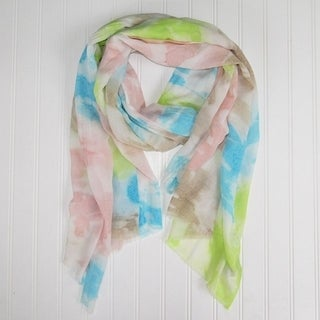 "Tickled Pink Vibrant Watercolor Scarf - 30 x 70"", Lime"