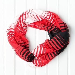 """Tickled Pink Striped T-shirt Infintiy Scarf - 15 x 62"""", Red / Black"""
