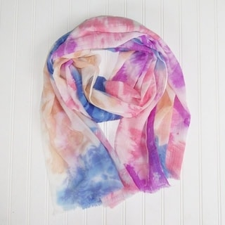 "Tickled Pink Vibrant Watercolor Scarf - 30 x 70"", Purple"
