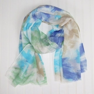 "Tickled Pink Vibrant Watercolor Scarf - 30 x 70"", Blue"