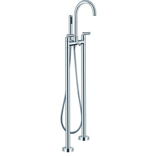 Ariel Chrome-finished Brass 2-handle Freestanding Roman Tub Faucet with Hand Shower