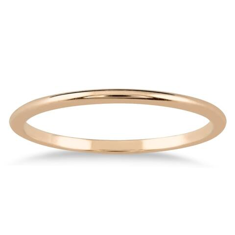 1mm Domed Wedding Band in 14K Pink Gold