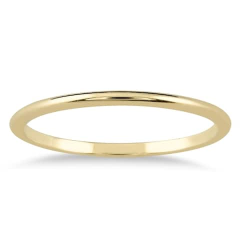 1mm Thin Domed 14k Yellow Gold Wedding Band