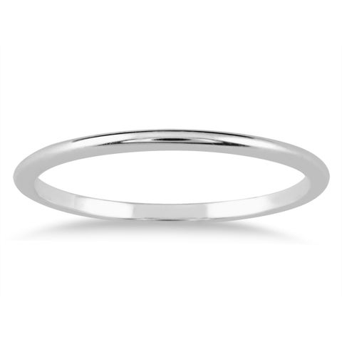 1mm Thin Domed Wedding Band in 14K White Gold