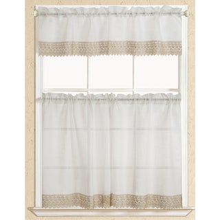 RT Designers Collection Evie Macrame Border Tier and Valance Kitchen Curtain Set