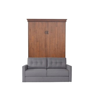 Queen Saw Mill Sofa-Murphy Bed in Reclaimed Brown Finish and Heather Tweed Fabric
