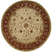 Empire Ivory/Rust Wool Hand-tufted Round Area Rug (6' x 6')