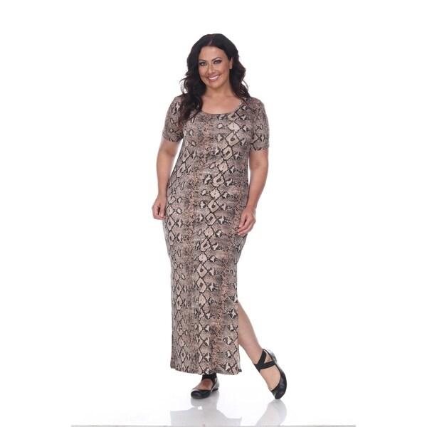 Shop White Mark Plus Size Snake Print Jasmine Maxi Dress - Free ...