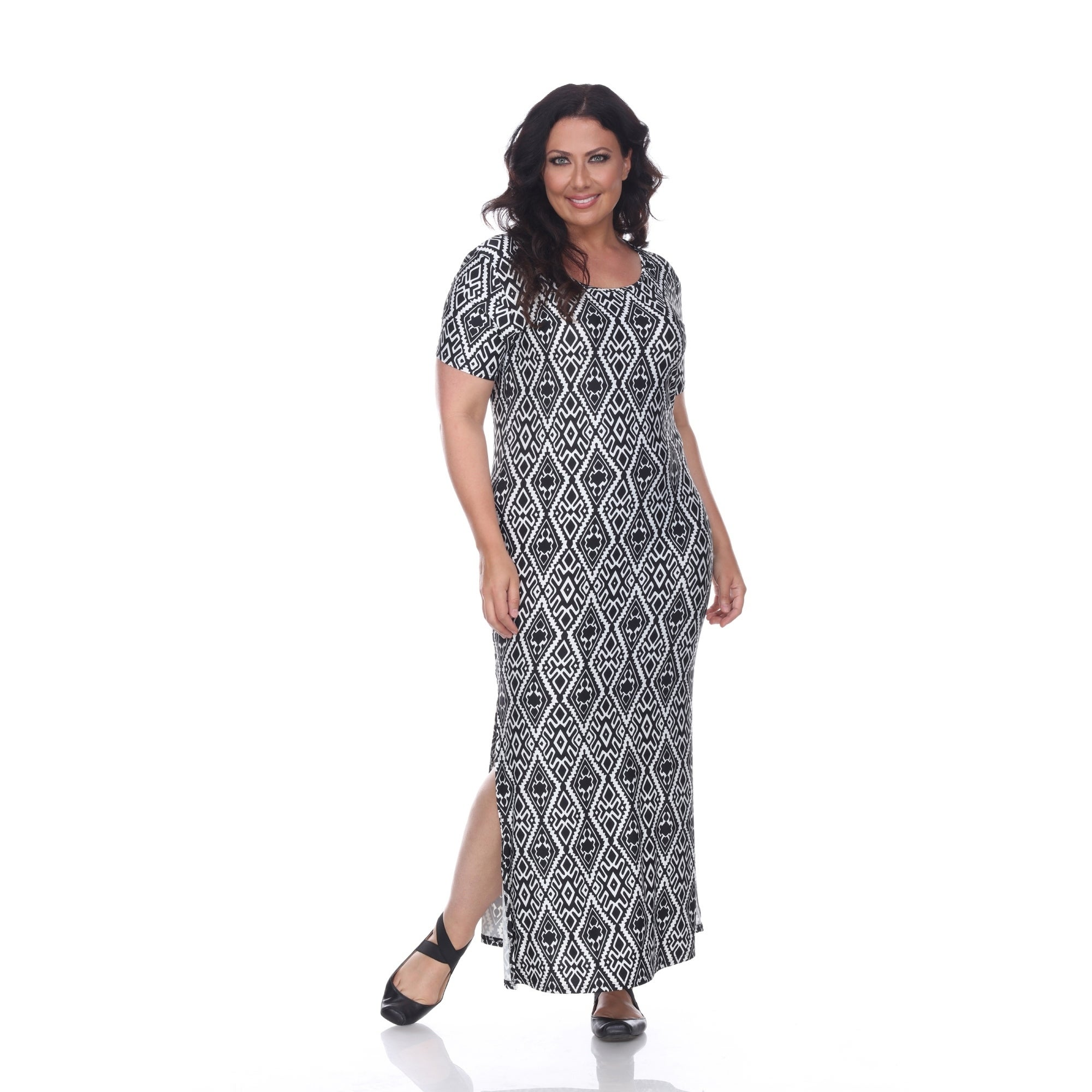 White Mark Plus Size Trellis Print Jasmine Maxi Dress