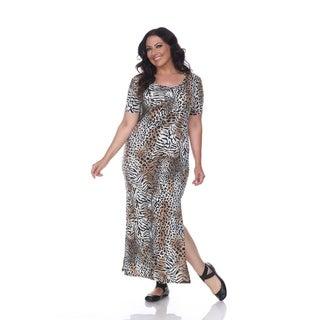 White Mark Plus Size Animal Print Jasmine Maxi Dress