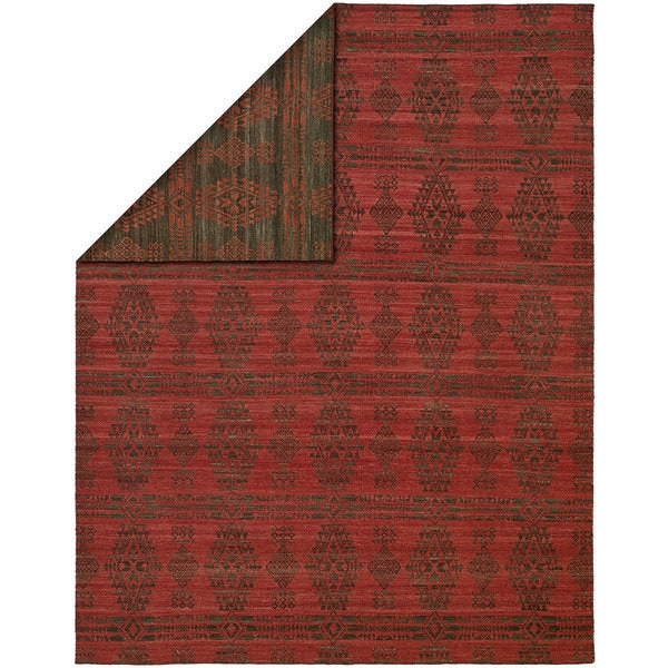 Endura Grey/Red Wool Handmade Reversible Area Rug - 4' x 6'