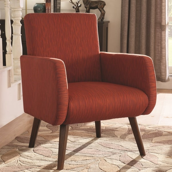 Shop mid century modern design orange red upholstered - Modern upholstered living room chairs ...