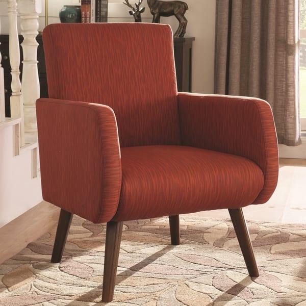 Shop Mid-Century Modern Design Orange-Red Upholstered Living ...