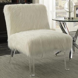 Furry Design Living Room Accent Chair with Acrylic Legs