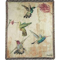 Manual Woodworkers Hummingbird Floral Multicolor Tapestry Throw