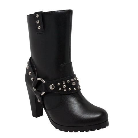 "Women's 10"" Harness Biker Boot Black"