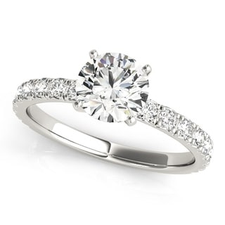 14k White Gold Diamond Accented Classic Engagement Ring (0.72ct) (Option: 9.75)