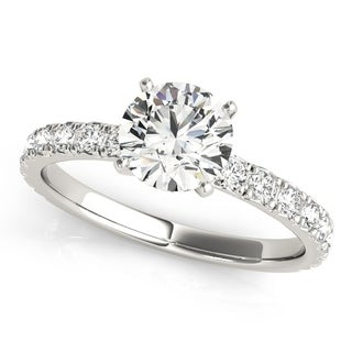 14k White Gold Diamond Accented Classic Engagement Ring (0.72ct)