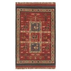 Flat-woven Tribal Wool/ Jute Rug (4' x 6')