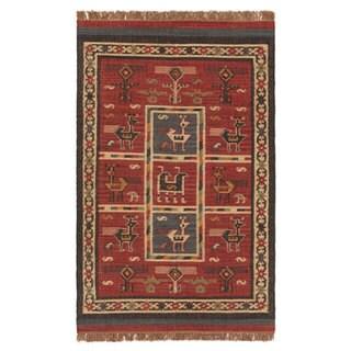 Flat-woven Tribal Wool/ Jute Rug (9' x 12')