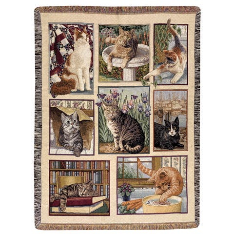 Manual Woodworkers Kitty Corner Multicolor Tapestry Throw