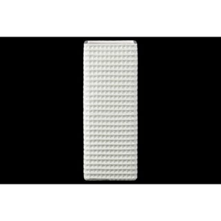 Tall elegant square vase, Dimpled Motif- White- Benzara