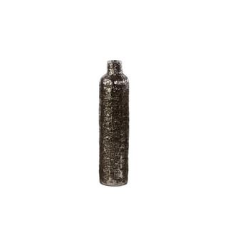 Bottle Vase with Engraved Criss Cross Design Medium - Silver - Benzara