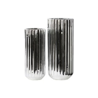 Tall Cylindrical Flower Vase  - Set of 2 - Silver - Benzara